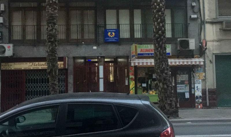 La puerta de entrada al local de la secta Gnosis